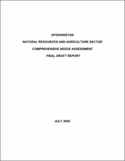 AFGHANISTAN NATURAL RESOURCES AND AGRICULTURE SECTOR COMPREHENSIVE